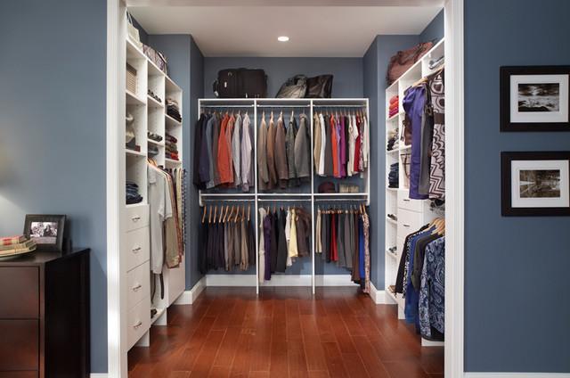 Cozy Custom Walk-In Closet Organizers: White traditional-closet walk in closet organizers