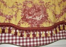 Cozy Custom Window VALANCE Curtain Rooster Waverly Toile Red Gold Check Tassel  Trim waverly toile curtains