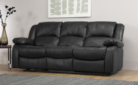 Superb Cozy Dakota 3 Seater Leather Recliner Sofa   Black 3 Seater Recliner Sofa