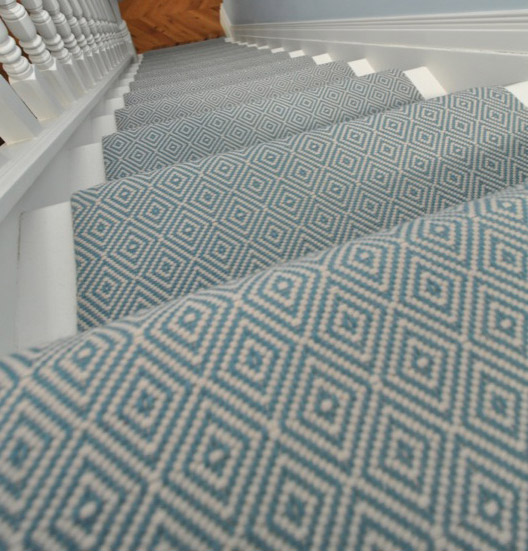 Cozy Diamond Flatweave Blue Stair Runner By Hartley And Tissier Hall geometric stair runner
