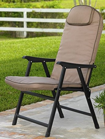 Cozy Extra-Wide Folding Padded Outdoor Chair (Khaki) padded folding patio chairs