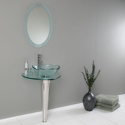 Cozy Fresca Netto Modern Glass Bathroom Vanity with Wavy Vessel Sink, Mirror, u0026 modern faucets for bathroom sinks
