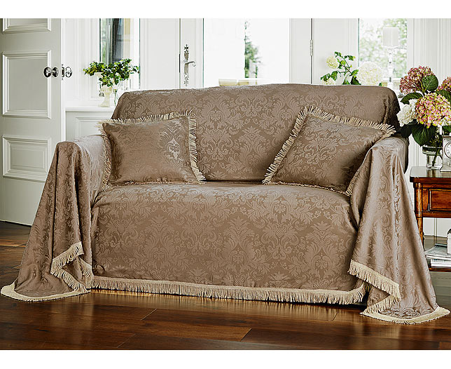 Cozy Fringed Damask Armchair and 3-Seater Sofa Throws (2 - SAVE £20) | 3 seater sofa throws