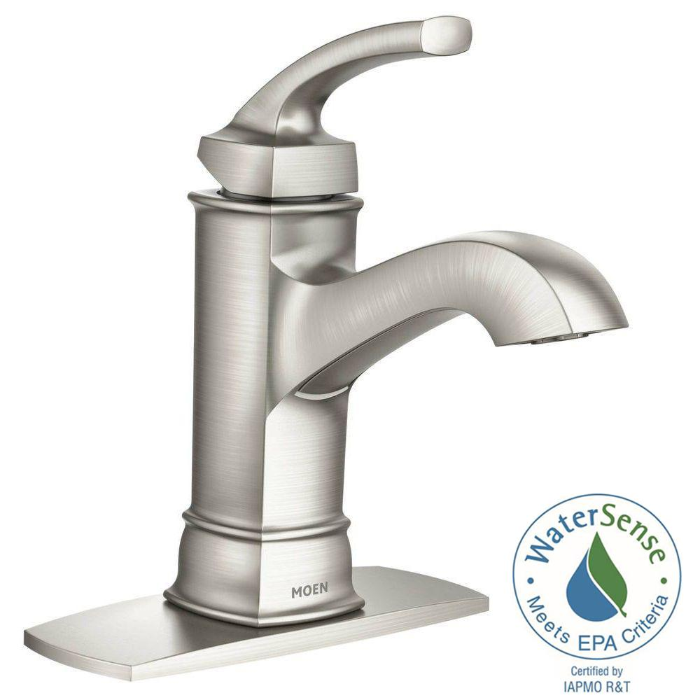 Cozy Hensley Single Hole 1-Handle Bathroom Faucet Featuring Microban Protection  in Spot single handle bathroom faucet