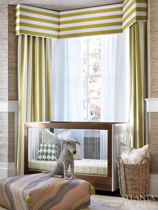 Cozy Horizontal stripe valance with vertical stripe curtains in bay window.  Graphic horizontal striped curtains