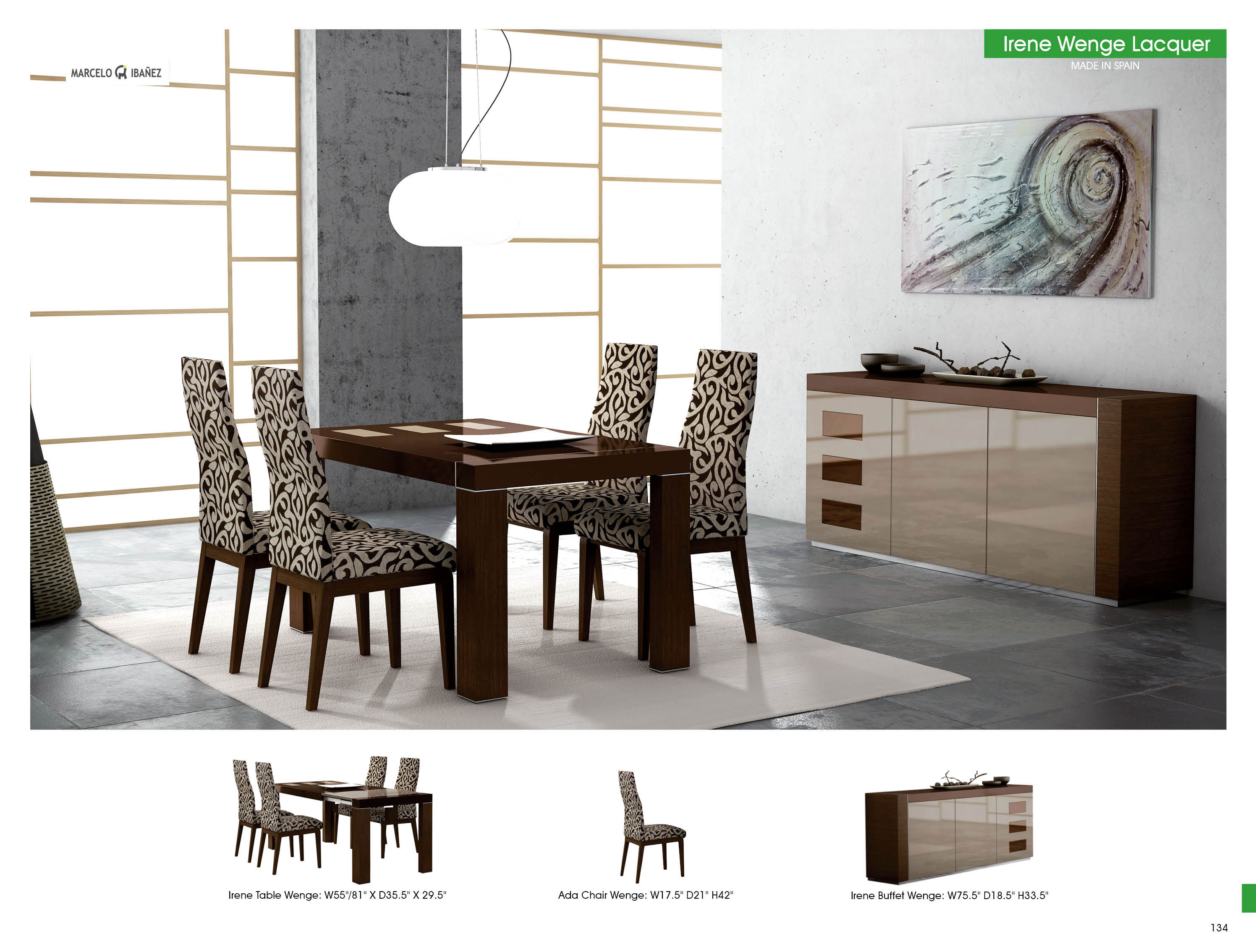 Cozy Irene Table Ada Chairs Lacquered stock item modern dining room furniture sets