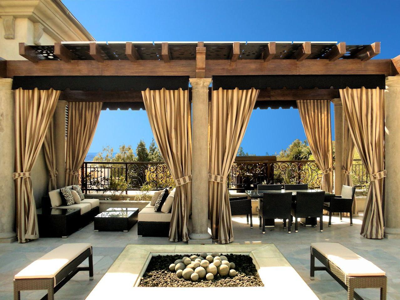 Cozy Italian Outdoor Patio with Elegant Outdoor Curtains outdoor patio curtains