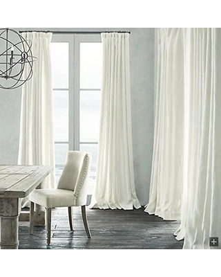 Cozy Leyden Pinch Pleated Solid Natural Linen White Lined Curtain Drapes Multi custom pinch pleat drapes