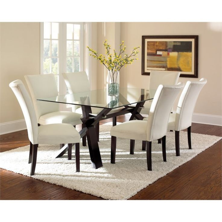 Cozy Lowest price online on all Steve Silver Berkley Glass Top Dining Table in glass top dining room sets