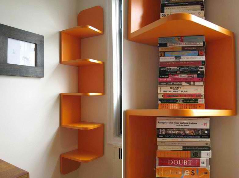 Cozy modern orange corner shelf by William Feeney modern corner bookshelf