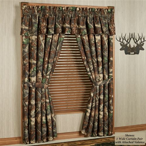 Cozy Oak Camo Tailored Curtain Pair Multi Warm 120 x 84 camo window curtains