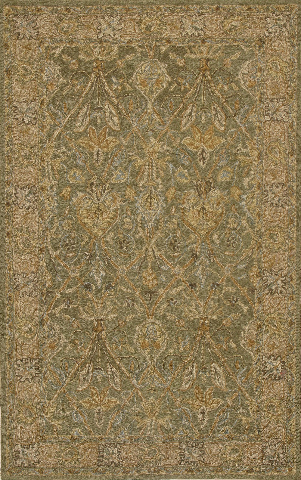 Cozy Rugsville Camilla Sage Green Traditional Wool Rug 10525, 10525 traditional wool rugs