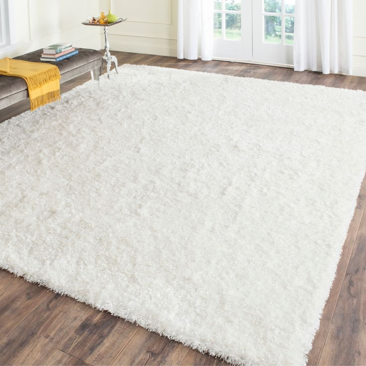 Cozy Safavieh Handmade Malibu Shag White Polyester Rug Square) Size x (Cotton, white shag carpet