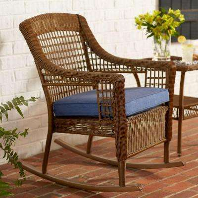Cozy Spring Haven Brown All-Weather Wicker Patio Rocking Chair with Sky Blue rocking chair patio set