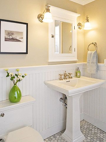 Cozy Spruce Up Your Guest Bath white beadboard bathroom