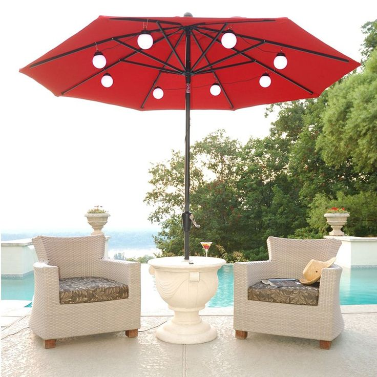 Cozy String of lights attaches to an 8-rib patio umbrella. patio umbrella lights
