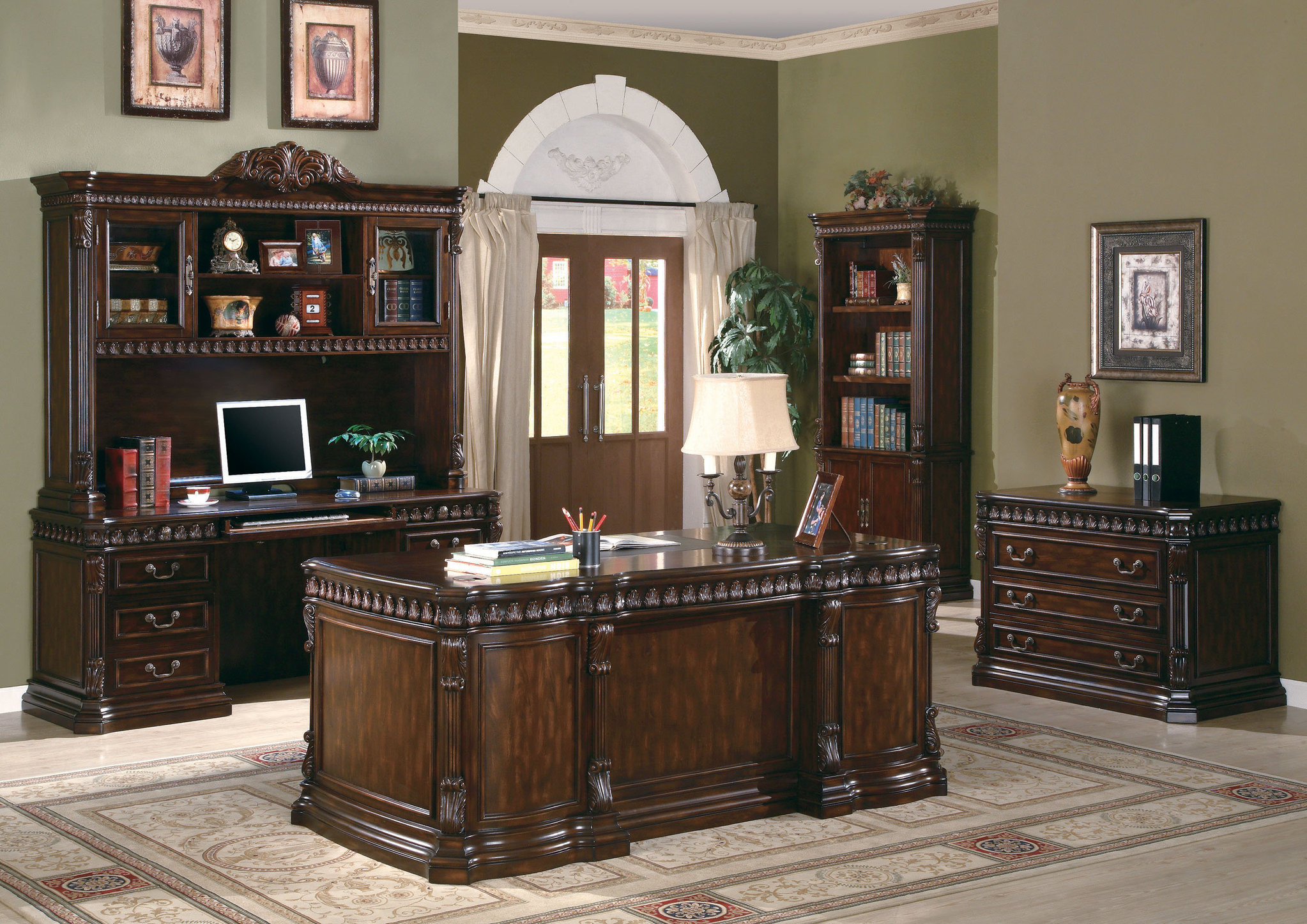Cozy The Villa Park Traditional Carved Wood Desk Home Office Furniture Set in traditional office furniture