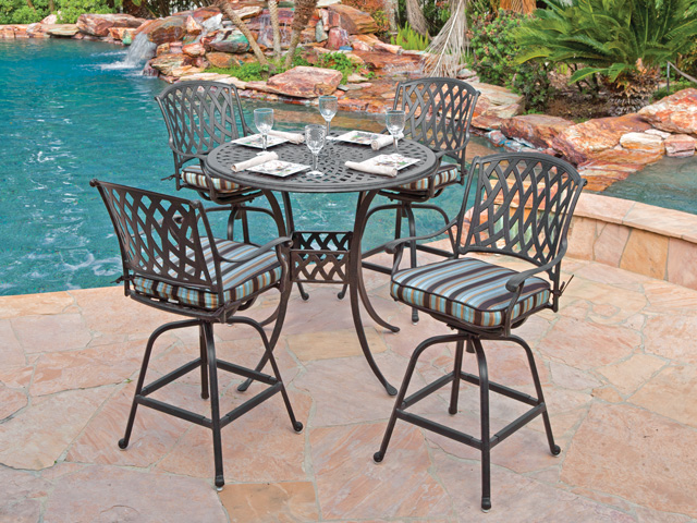 Cozy Tivoli 5 Pc. Cast Aluminum Swivel Bar Set with 48 Round Table bar height patio set with swivel chairs