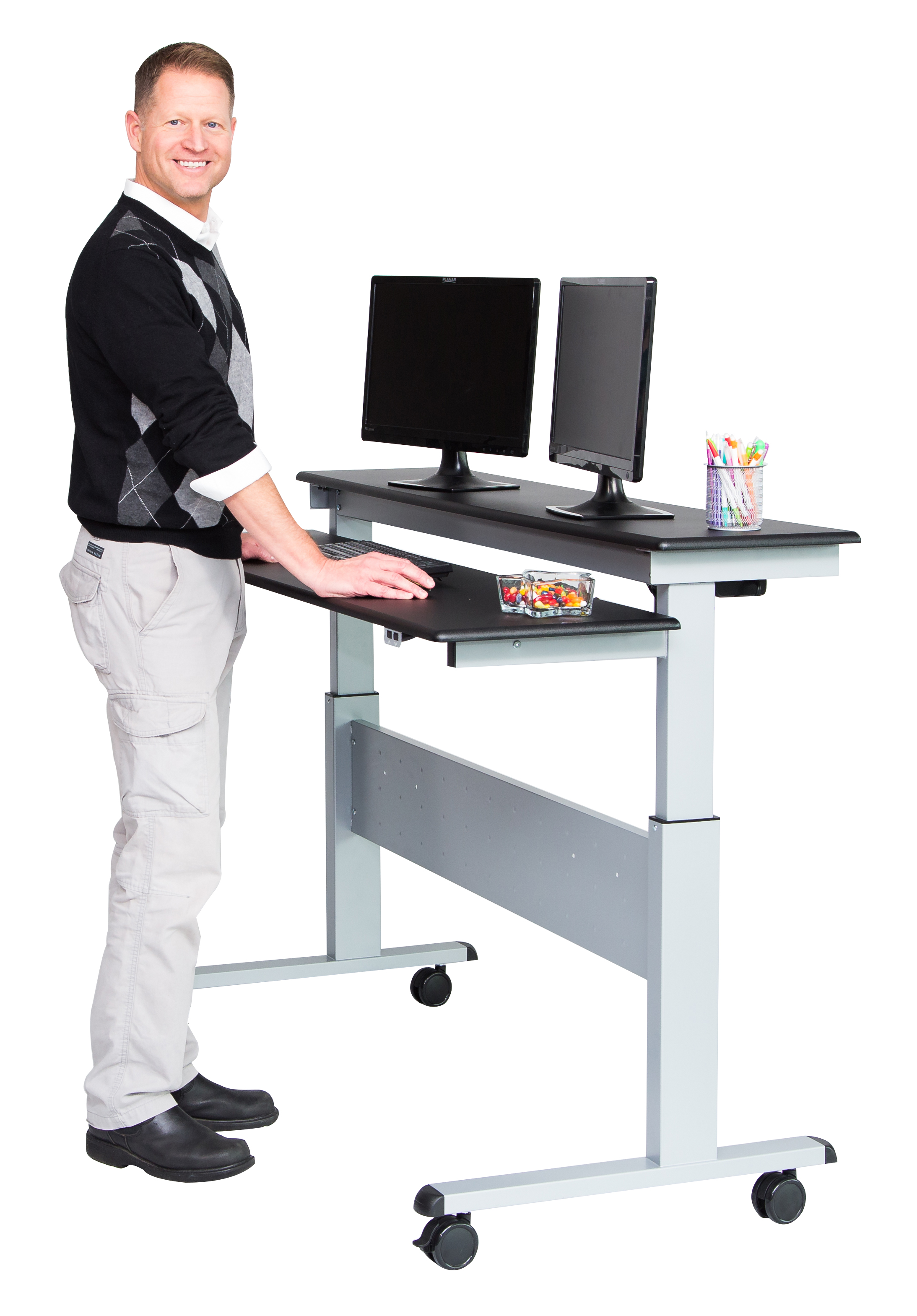 Cozy Two Tier Electric Stand Up Desk 60 Inch | Stand Up Desk electric standing desk