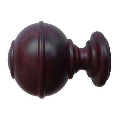 Cozy Wood Burger Finial in Antique Mahogany wooden finials for curtain rods
