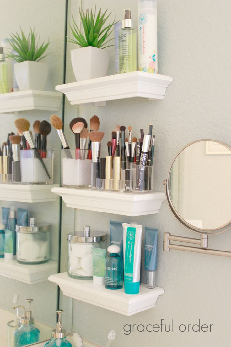 Cute Add small shelves next to the bathroom sink for those small bathrooms with bathroom vanity organizers