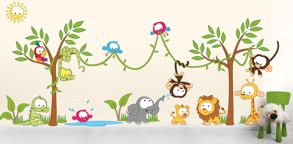 Cute ... Amazon Jungle scene Wall Sticker in by Vinyl Impression ... jungle wall stickers