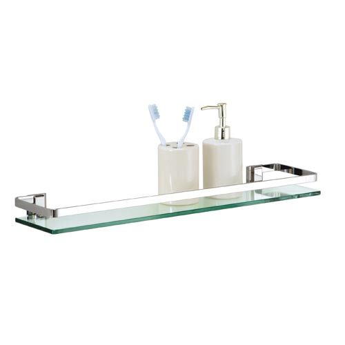 Cute Bath Set of Six Glass Bath Shelves with Rail glass shelving for bathroom