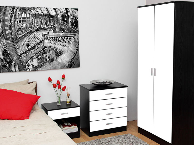 Cute complete glossbrand black high gloss bedroom furniture ready assembled