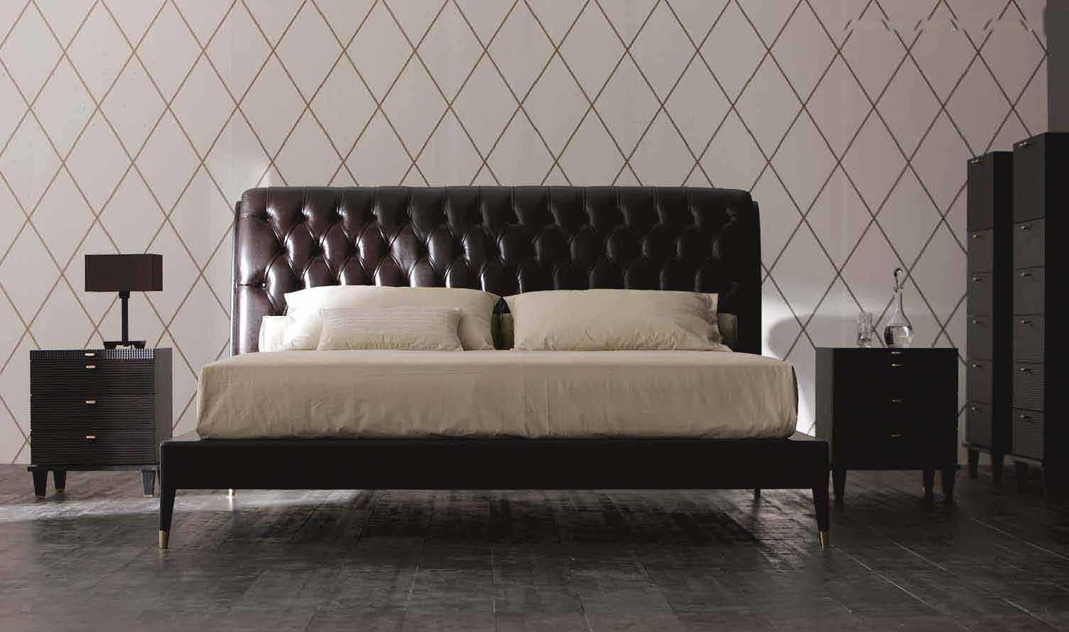 Cute Double Bed Contemporary Leather With Upholstered Headboard