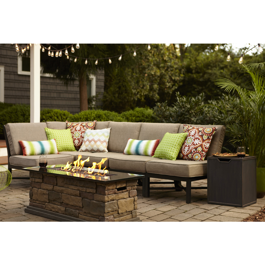 Cute Garden Treasures Palm City 5-Piece Black Steel Patio Conversation Set with outdoor patio furniture sets
