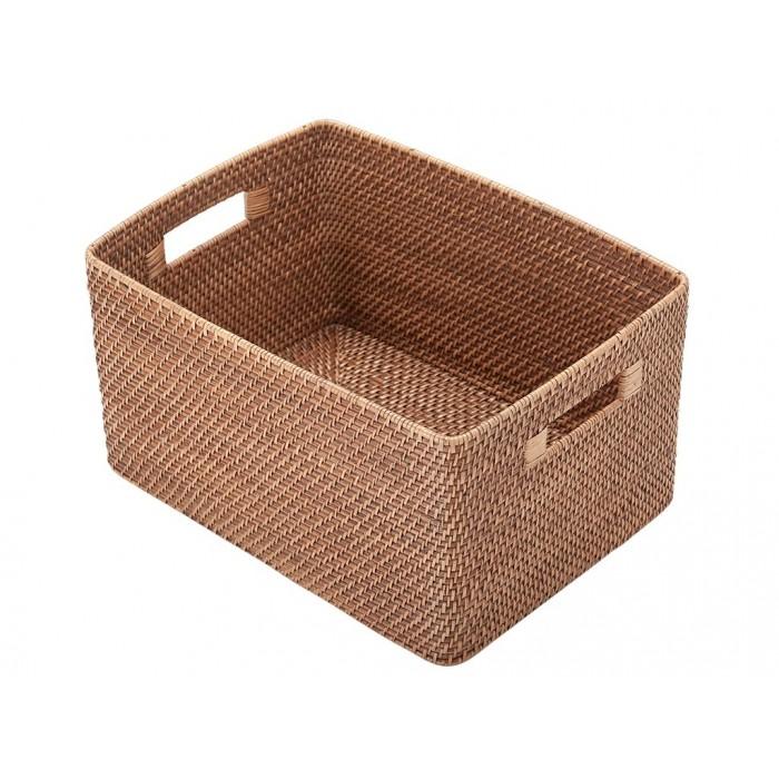 Cute Laguna Rectangular Rattan Storage Basket, Honey-Brown large wicker storage baskets