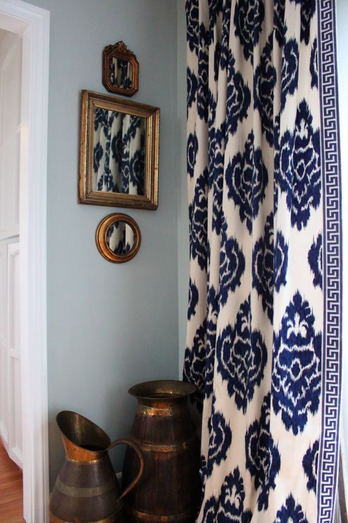 Cute Love the Curtains! Navy Blue and White Ikat pattern with Greek Key border. blue and white curtains