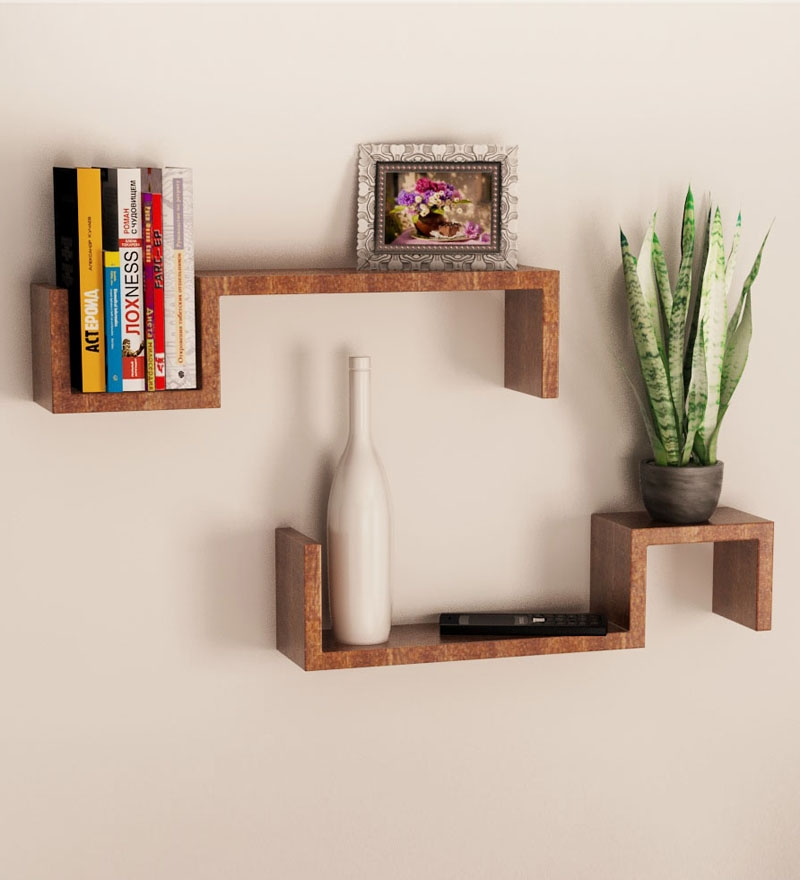 Cute Mango Wood Set of 2 Wall Shelves by Home Sparkle Online - wooden wall shelves