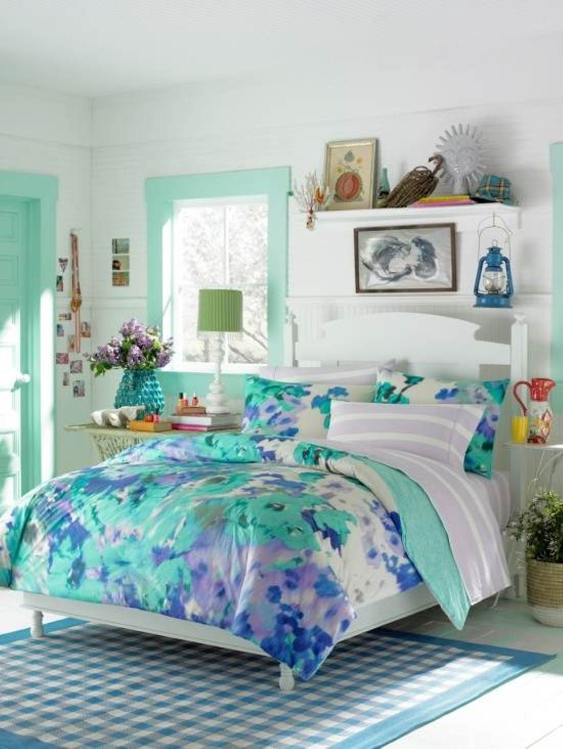Cute outstanding girls bedrooms | ... Teenage Girl Bedroom Blue Flower Themes themed room ideas for teenage girl