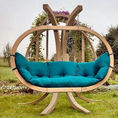 Cute Round wooden garden swing from Amazonas garden swing seat