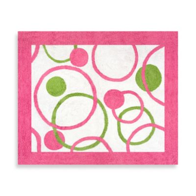 Cute Sweet Jojo Designs Mod Circles 30-Inch x 36-Inch Accent Rug in Pink pink and green rugs for girls room