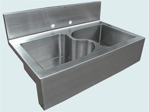 Cute Transitional Kitchen u0026 Bar Sink from Handcrafted Metal, Model: Backsplash  Sink custom stainless steel sinks
