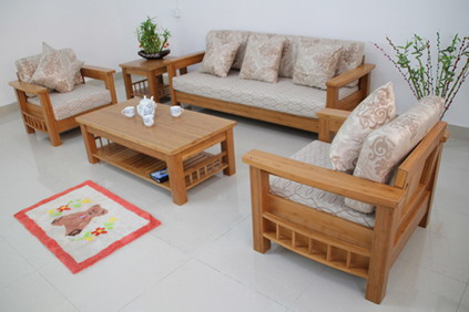 Cute Wood Living Room Sofa and Table in Small Modern Living Room Interior simple wooden sofa set designs