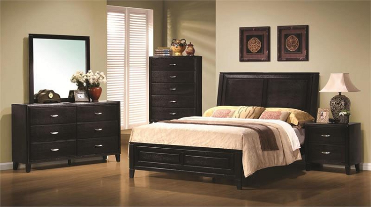 Elegant 201961 Nacey Dark Walnut Queen Size Bedroom Set queen size bedroom sets