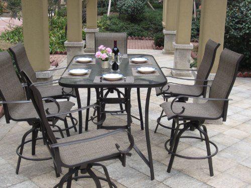 Elegant 7pc Bronze Swivel Bar Height Patio Dining Set with Cover bar height patio set with swivel chairs