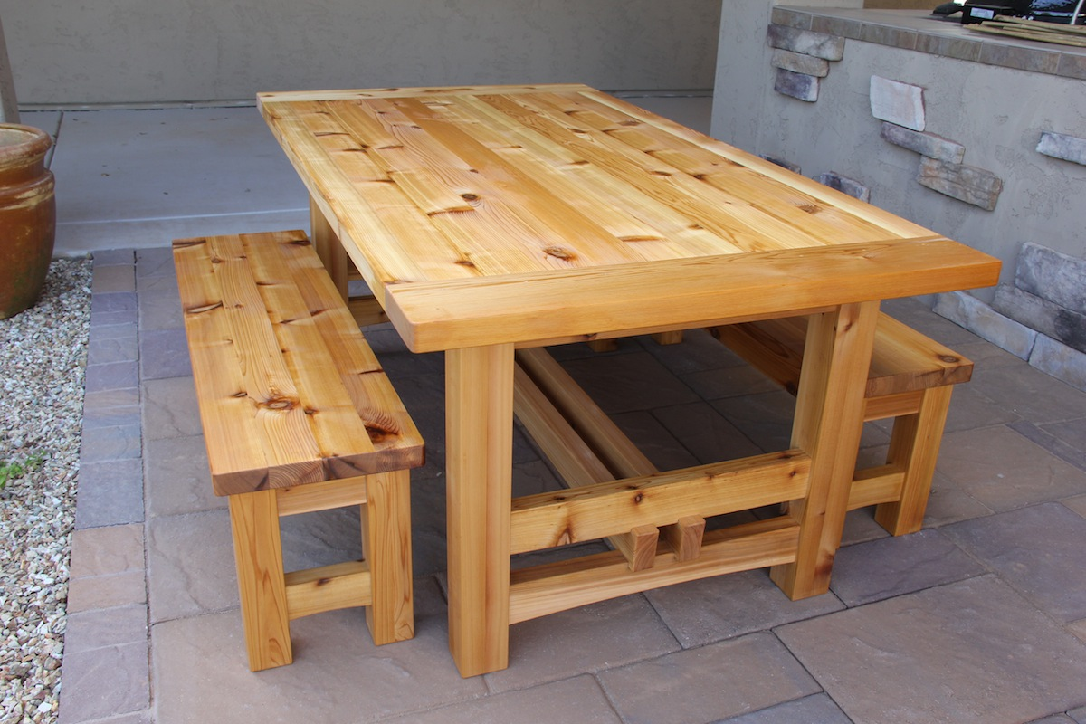 Elegant Appealing Cedar Patio Table Plans and A Pair of Outdoor Backless Bench outdoor wooden tables and benches