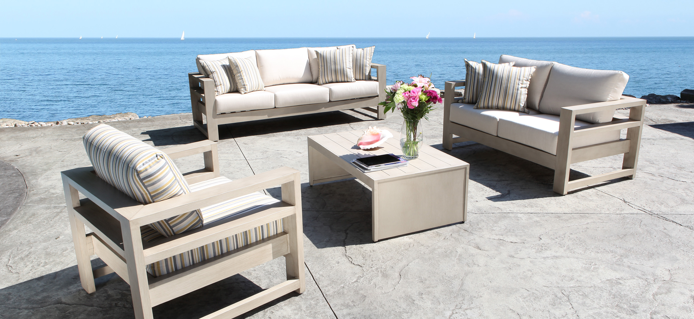Elegant Aura Cast Aluminum Patio Furniture Conversation Set with A Modern Luxury modern aluminum patio furniture