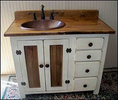 Elegant Bathroom Vanity - Copper Sink - 42 country bathroom vanities