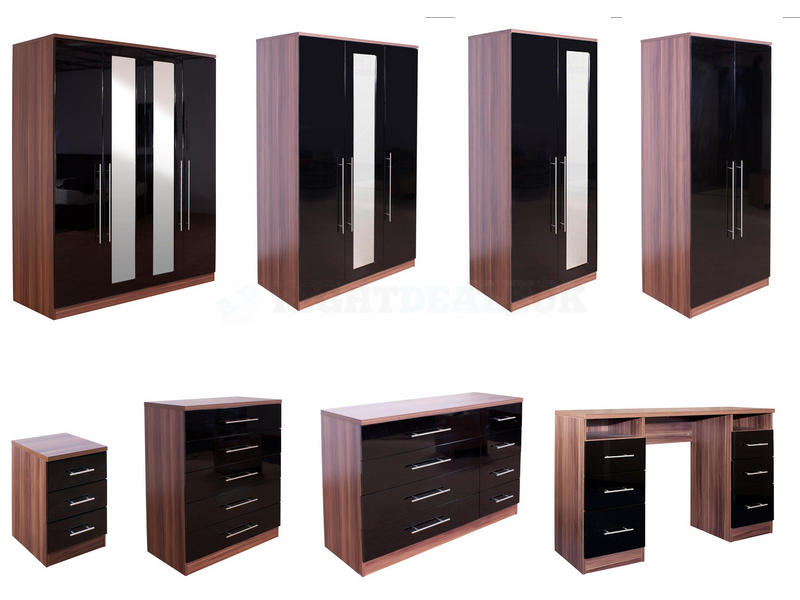 Elegant bedroom furniture black gloss and walnut photo - 2 walnut black gloss bedroom furniture