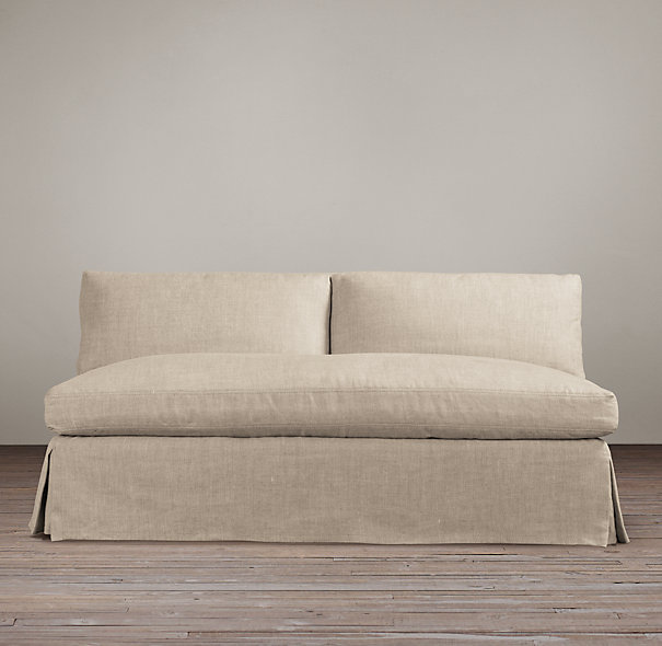 Elegant Belgian Slope Arm Slipcovered Armless Sofa | | Restoration Hardware armless sofa slipcover