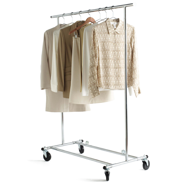 Elegant Chrome Metal Folding Commercial Clothes Rack Racks For