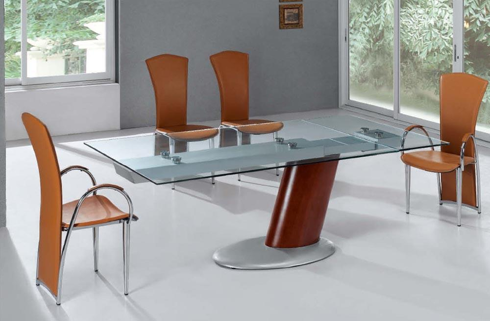 Elegant Comet Gl Contemporary Extendable Dining Table With Metal Base Top