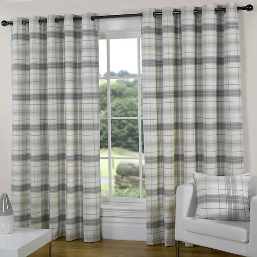 Elegant Details about SILVER GREY SLATE PEWTER CREAM Check tartan EYELET Ring grey tartan curtains