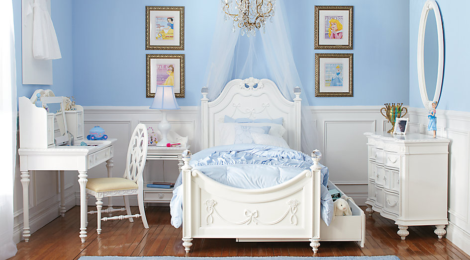 Elegant Disney Princess White 5 Pc Twin Poster Bedroom princess bedroom set