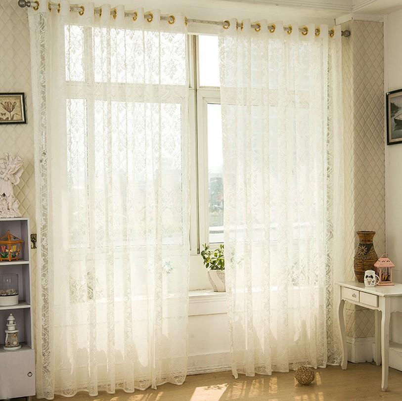Elegant Four Styles Customer-made Semi-sheer Curtains White Coffee Jacquard Living  Room Bedroom semi sheer curtains